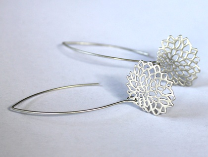 Matte Silver Chrysanthemum Long Earrings