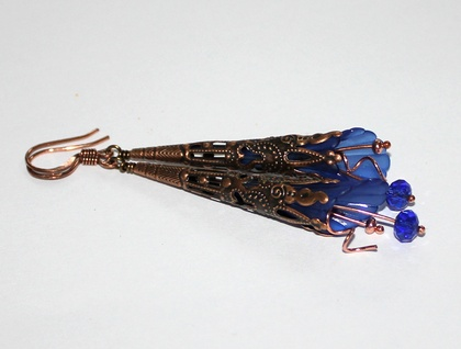 Royal Blue and Copper Floral Skinny Earrings