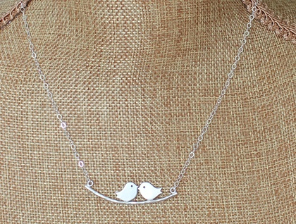 Love Birds on a Branch Sterling Silver Necklace