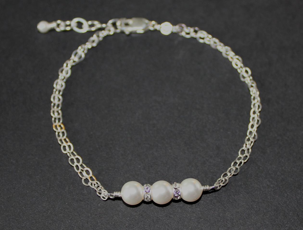 sterling silver swarovski pearl bridal bracelet felt. Black Bedroom Furniture Sets. Home Design Ideas