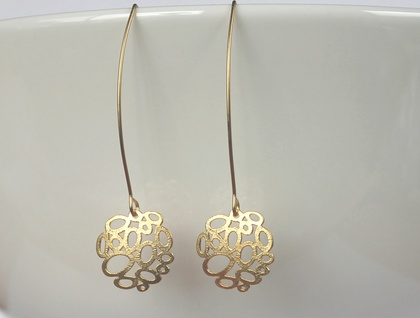 Gorgeous Gold Bubble Long Matte Earrings