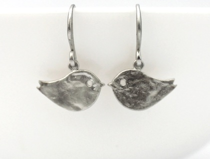 Adorable Hammered Matte Silver Bird Earrings