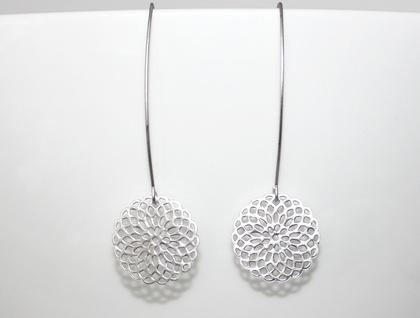 Matte Silver Mandala Long Earrings