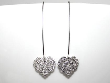 Super Sweet Silver Filigree Heart Long Earrings