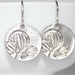 Sweet Silver Blossom Carved Disc Earrings