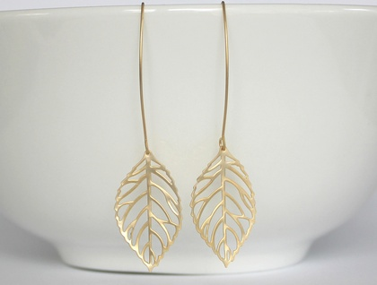 Gorgeous Large Matte Gold Leaf Skeleton Earrings