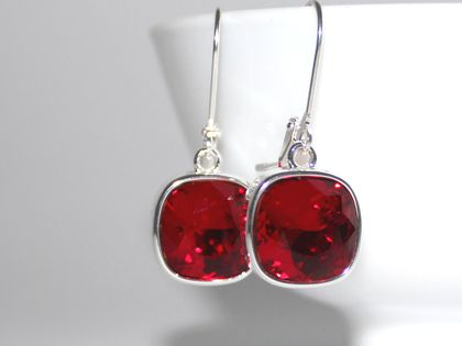 Vibrant Siam Red 10mm Swarovski Cushion Lever Back Earrings