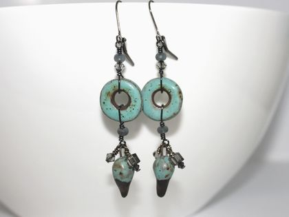 Amazing Turquoise and Grey Ceramic Handmade Earrings