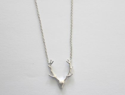 Awesome Deer Head Matte Rhodium Necklace