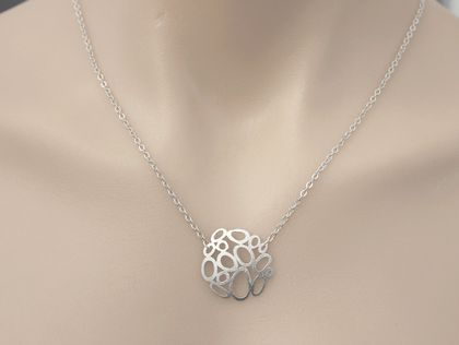 Awesome Bubble Cluster Matte Rhodium Necklace
