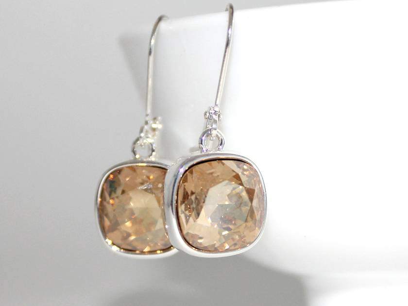 Golden Shadow 12mm Swarovski Cushion Lever Back Earrings