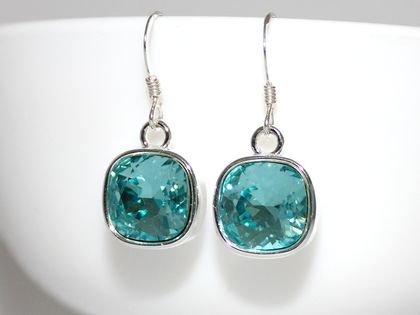 Gorgeous Light Turquoise 10mm Swarovski Crystal Cushion Earrings