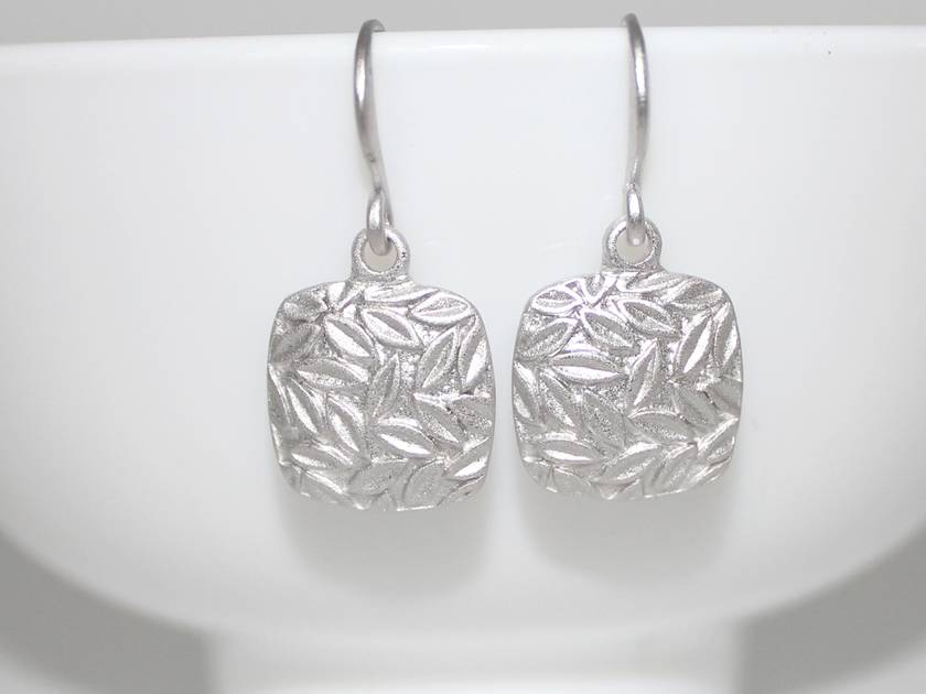 Lovely Square Leaves Matte Silver Earrings