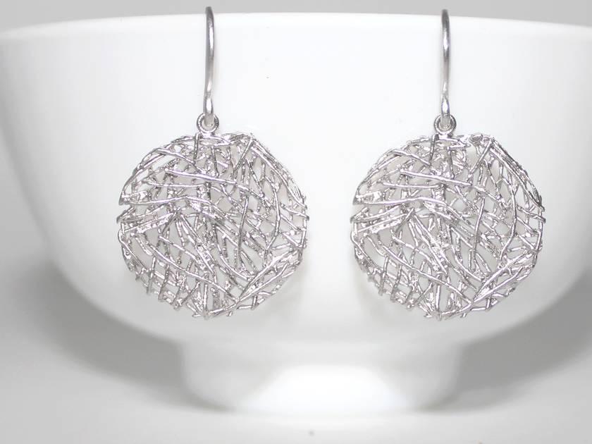 Stunning Silver Circular Nest Earrings