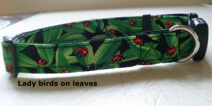 Hand made dog collar with lady bird fabric.