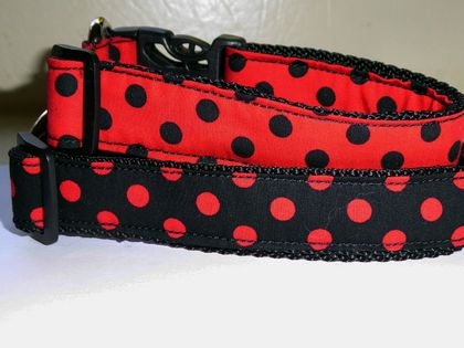 Handmade dog collar in red or black spots