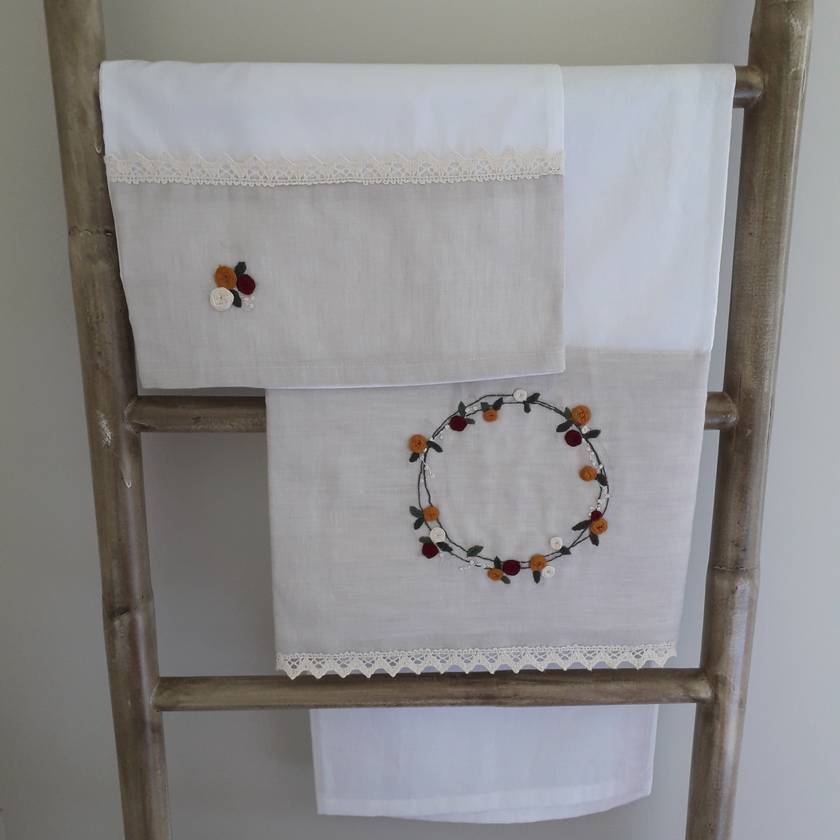 Hand Embroidered Pram/Bassinet Sheet Set
