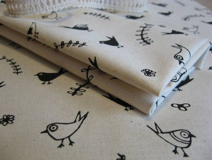 Handprinted fabric - Garden in black