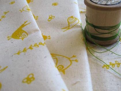 Handprinted fabric - Garden print in sunshine yellow