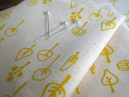 Handprinted fabric - Little Forest in sunshine yellow