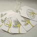 Little trees - hand stamped mini gift swing tags