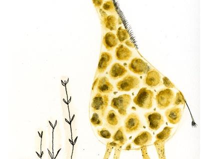Giraffe art print - A5