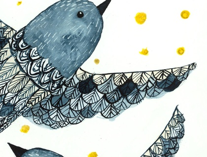 Watercolor painting - Indigo Birds - digital print - A4
