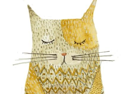 Watercolor painting - Portrait of a Cat - digital print - A5