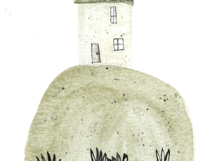 Mixed media illustration - House on a Hill - A4 digital print