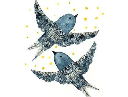 Watercolor painting - Indigo Birds - digital print - A4
