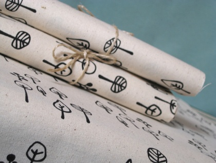Little Forest - handprinted fabric