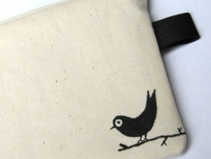 Bird on a Branch hand painted zippered pouch