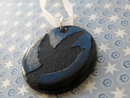 Black on Black bird pendant