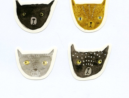 Set of 4 stickers - Cats