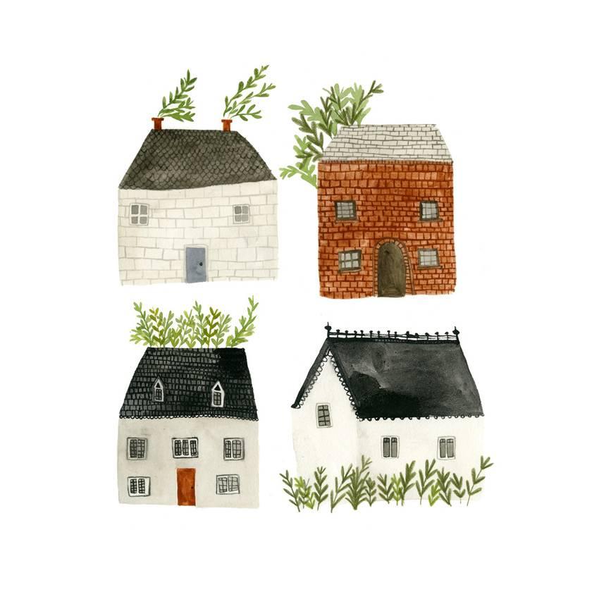Four Houses A4 Art Print