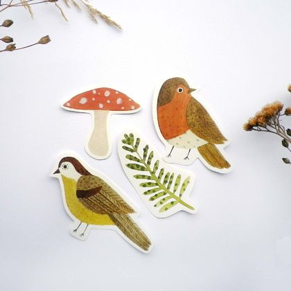 Set of 4 woodland stickers
