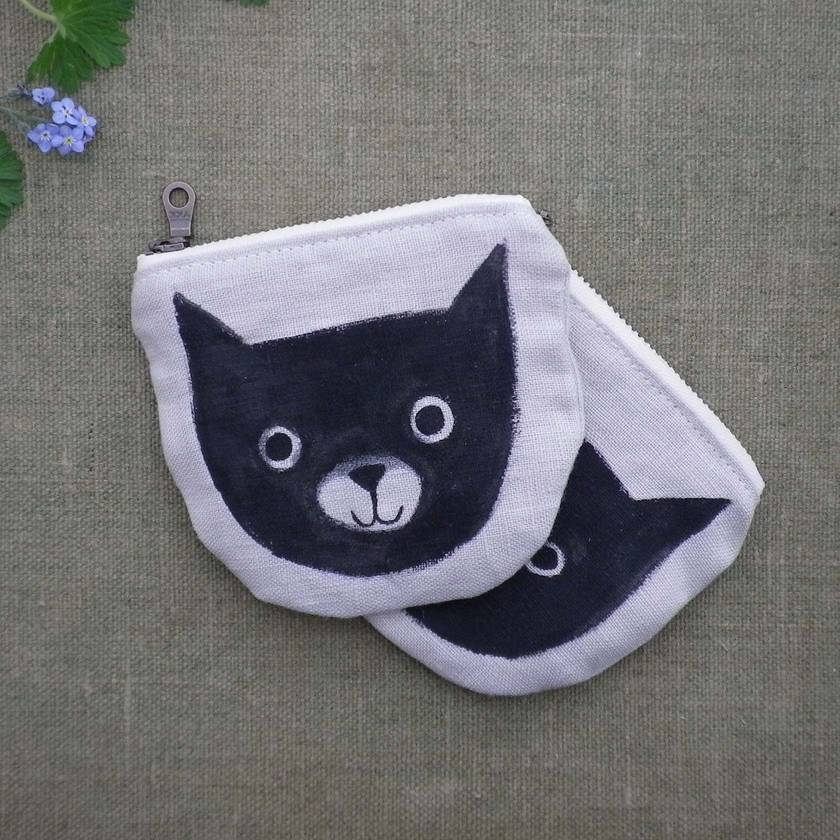 Meow Coin purse - hand painted cat pouch