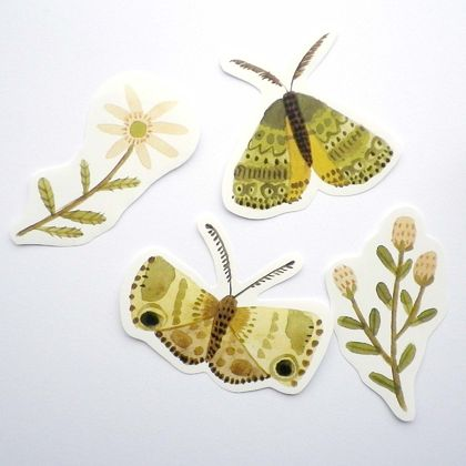 Set of 4 stickers - moths and flowers