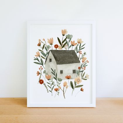 Floral Cottage A4 Art Print