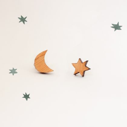 Moon and Star Tiny Earrings