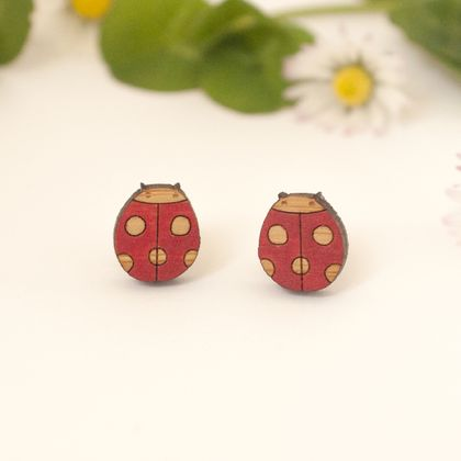 Tiny Ladybird Earrings - Natural Dots