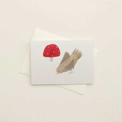 Mushroom and Bird Greeting Card