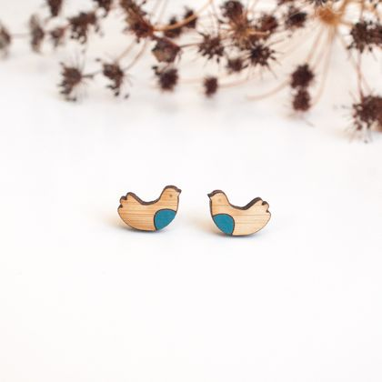 Sweet Bird Tiny Earrings in Teal Blue