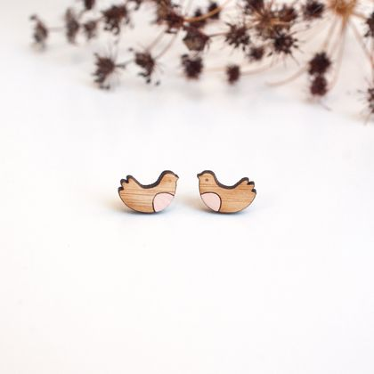 Sweet Bird Tiny Earrings in Blush Pink