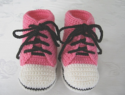 Baby High Top Boots - Pink, White & Black. 0 to 6 months.