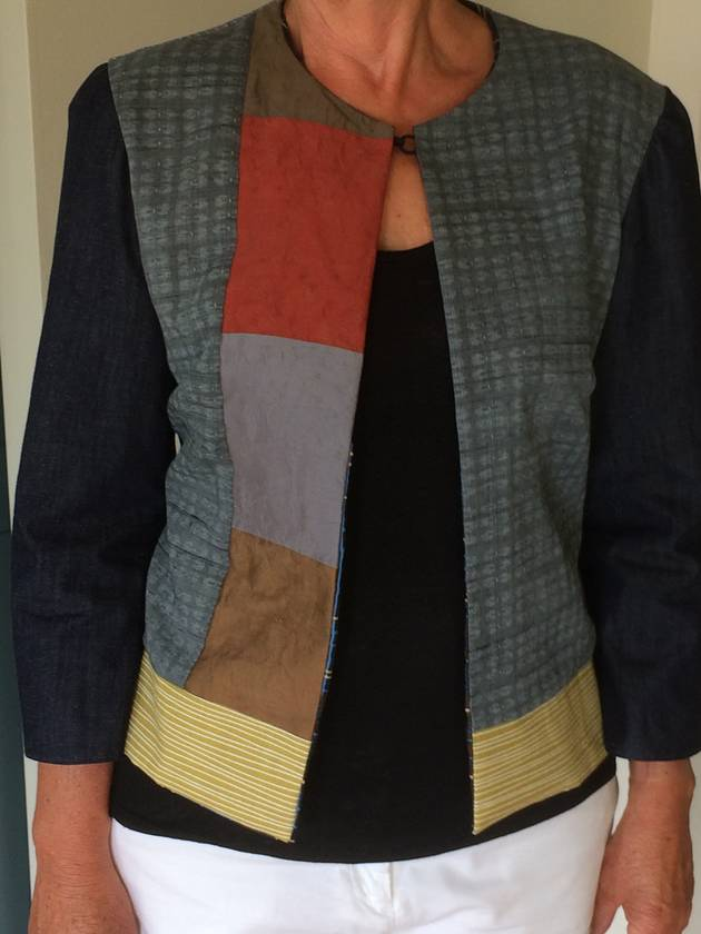Colourful, stylish fully lined jacket. Hand pieced.