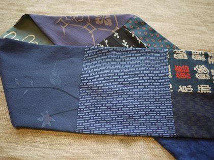 Antique kimono pieced scarf in blue.
