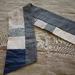 Blue/grey pieced scarf using kimono pieces.