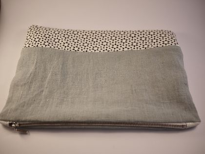 Eggshell blue linen and white nappa zippered pouch.