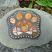 Mosaic Paw Print on Stone - Paperweight or Garden Ornament